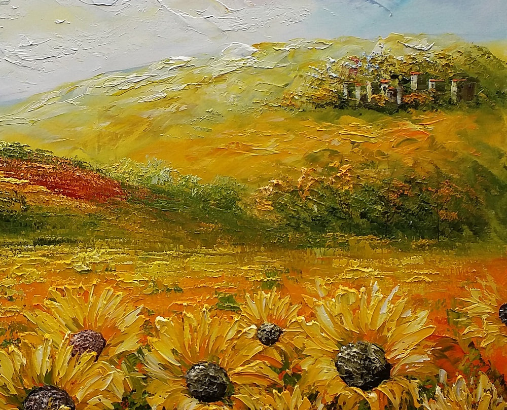 Sunflower Painting, Large Wall Art, Landscape Painting, Oil Painting