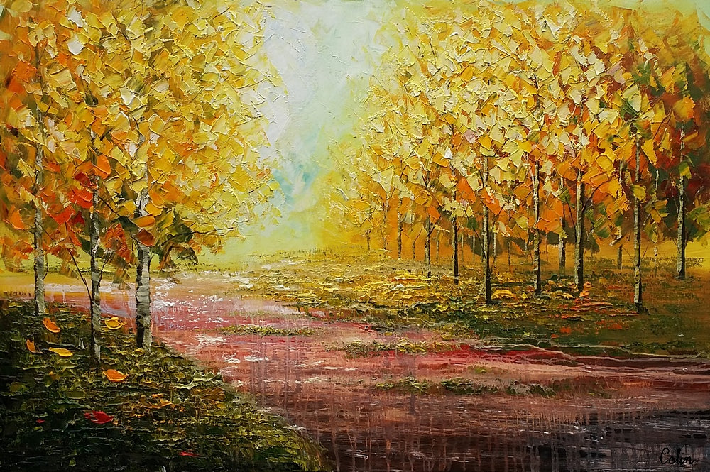 Landscape Art, Autumn Tree Painting, Original Wall Art, Oil Painting ...