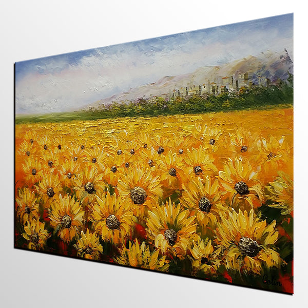 Living Room Wall Art, Original Painting, Landscape Painting, Abstract Art, Canvas Art, Wall Art, Original Artwork, Sunflower Painting 308