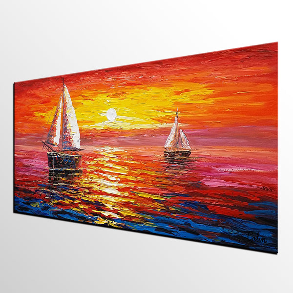 Sunrise Painting, Boat Painting, Oil Painting, Original Painting, Large Art, Canvas Art, Wall Art, Canvas Painting 312