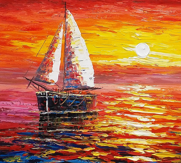 Sunrise Painting, Boat Painting, Oil Painting, Original Painting, Large Art, Canvas Art, Wall Art, Canvas Painting 312 - artworkcanvas