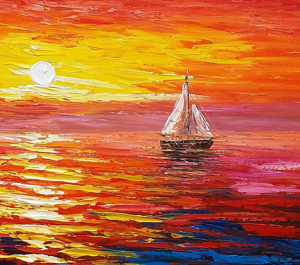 Sunrise Painting Boat Painting Oil Painting Original