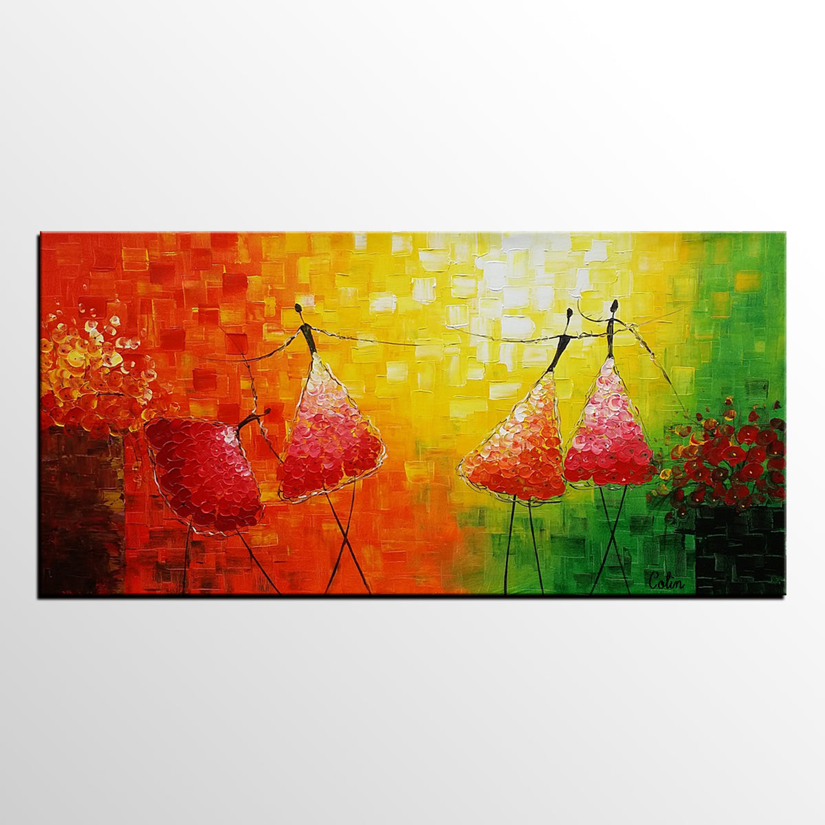 Abstract Ballet Dancer Painting, Original W...