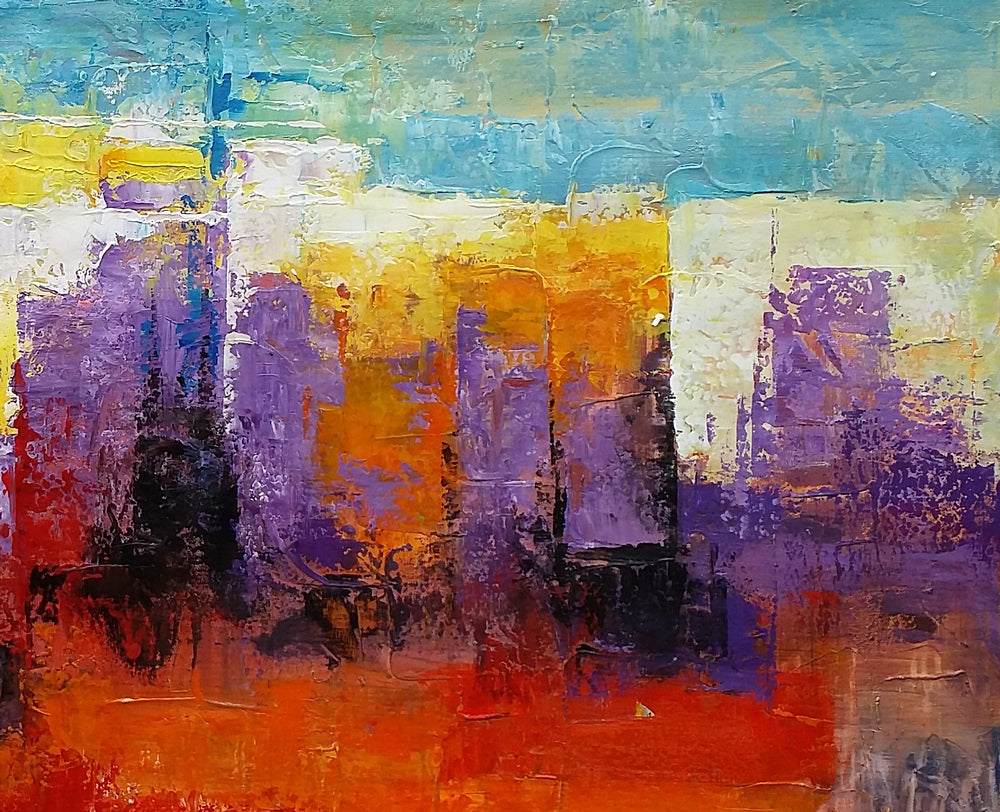 Modern Art, Cityscape Art, Abstact Landscape Painting, Abstract Art, Canvas Art, Wall Art, Original Painting, Framed Art, 316