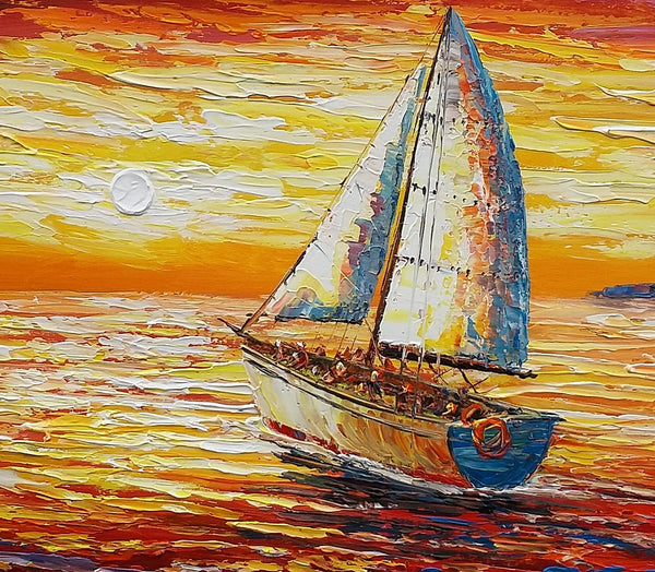 Original Wall Art, Sail Boat Painting, Seascape Painting, Abstract Art, Canvas Art, Wall Art, Canvas Artwork, Art on Canvas, 320