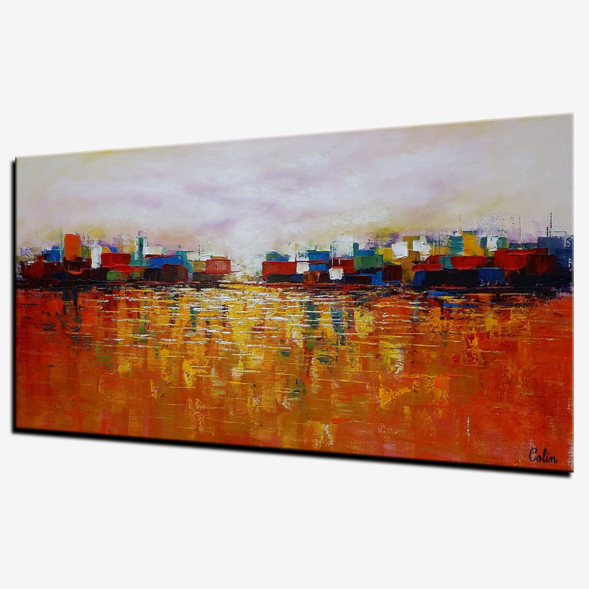 Cityscape Art, Abstract Painting, Bedroom Wall Art, Abstract Landscape Painting, Canvas Art, Wall Art, Original Artwork, 327