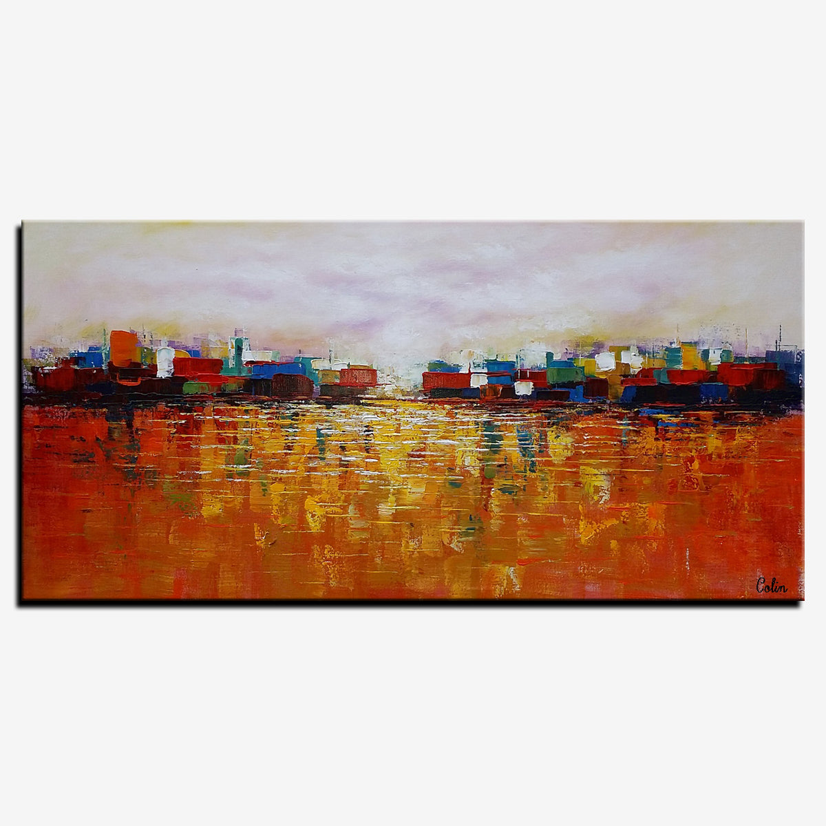 Cityscape Art, Abstract Landscape Painting, Canvas Wall Art, Original Artwork
