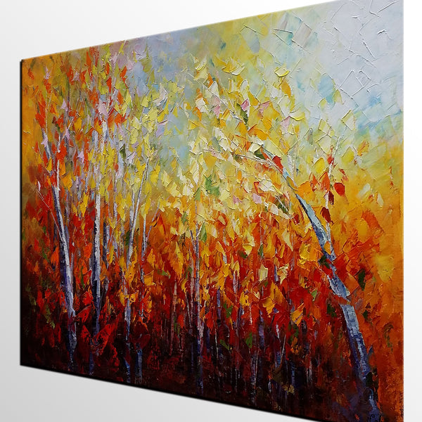 Large Art, Autumn Tree Painting, Wall Art, Landscape Painting, Large Art, Canvas Art, Original Artwork, Bedroom Art Decor, 334