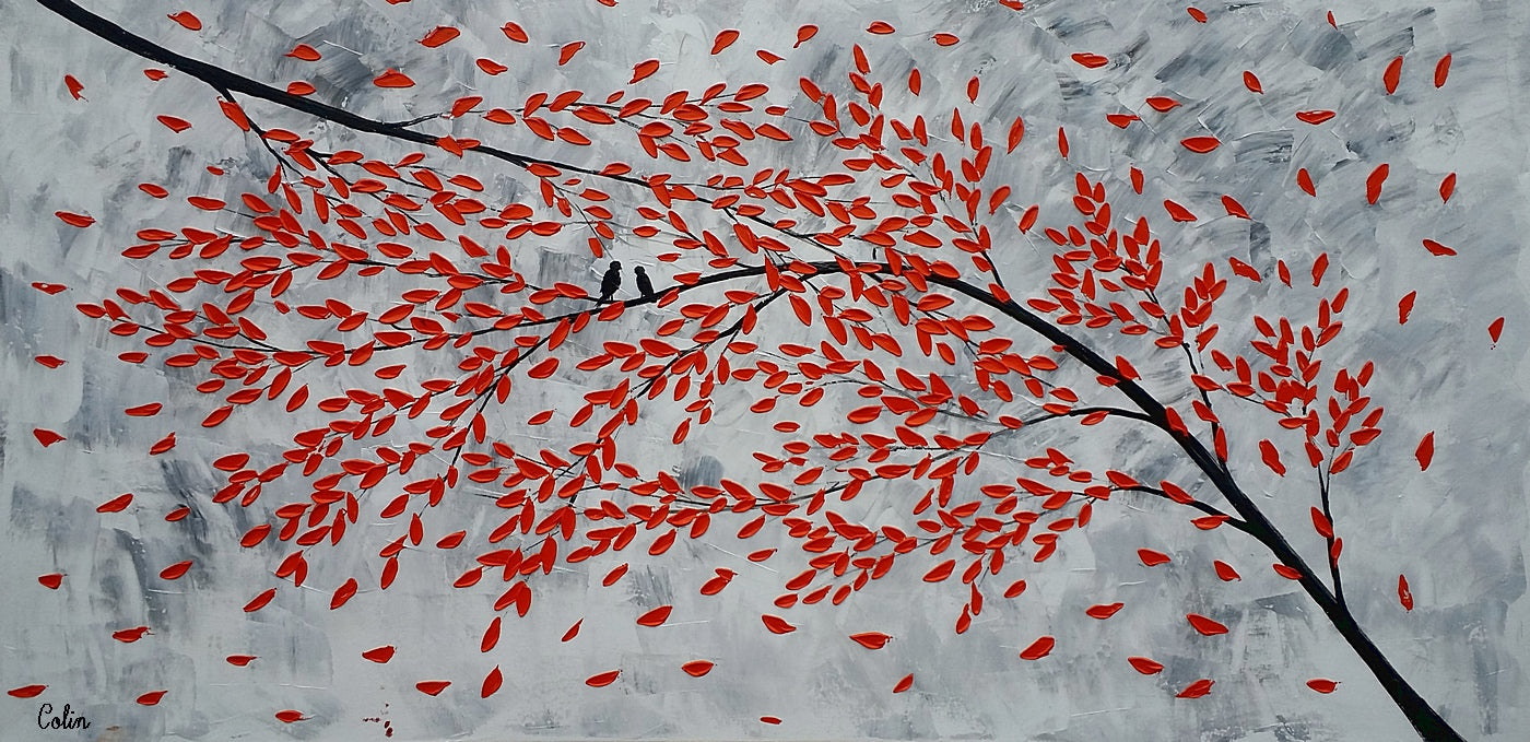 Abstact Art, Singing Birds Painting, Original Painting, Wedding Gift, Large Art, Canvas Art, Wall Art, Original Artwork, Tree Painting, 340