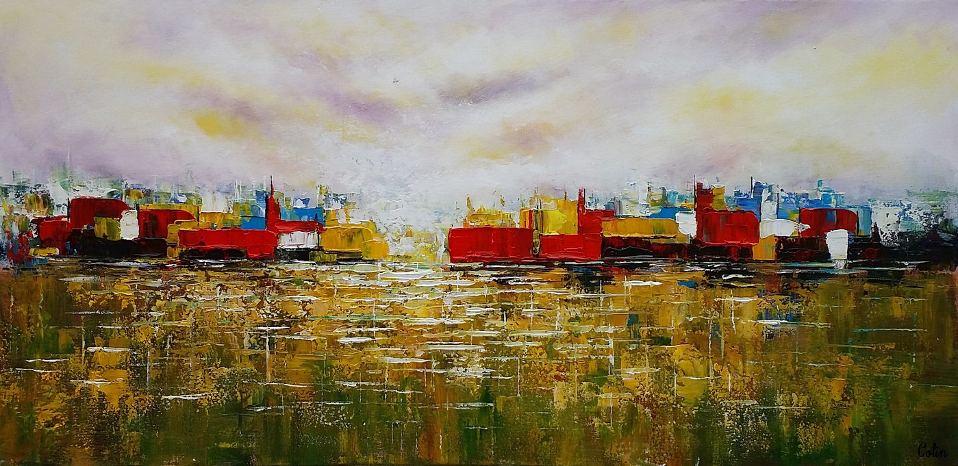 Abstract Wall Art, Cityscape Painting, Abstract Landscape Painting, Contemporary Art, Original Artwork