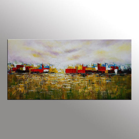 Abstract Wall Art, Cityscape Painting, Abstract Landscape Painting, Contemporary Art, Original Artwork - artworkcanvas