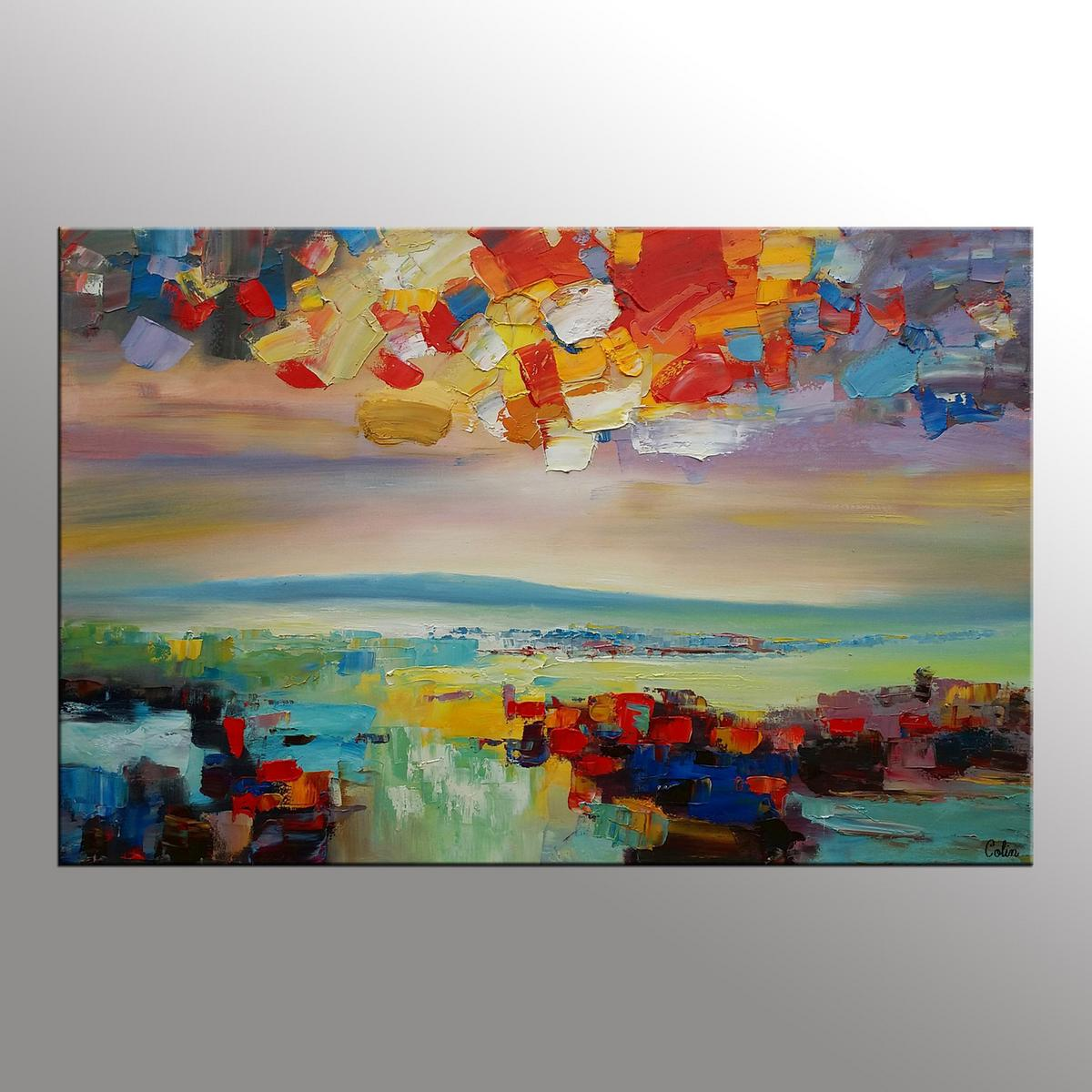 Original Wall Art, Abstract Landscape Painting, Large Oil Painting, Canvas Art, Wall Art, Original Artwork, Canvas Painting, 352