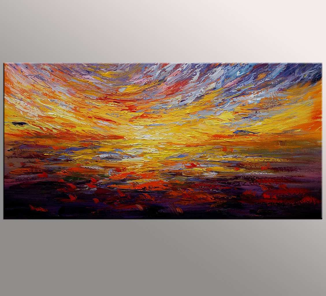 Colorful Sky Painting, Canvas Wall Art, Abstract Landscape Art, Large Art, Canvas Art, Wall Art, Oil Painting on Canvas, 355