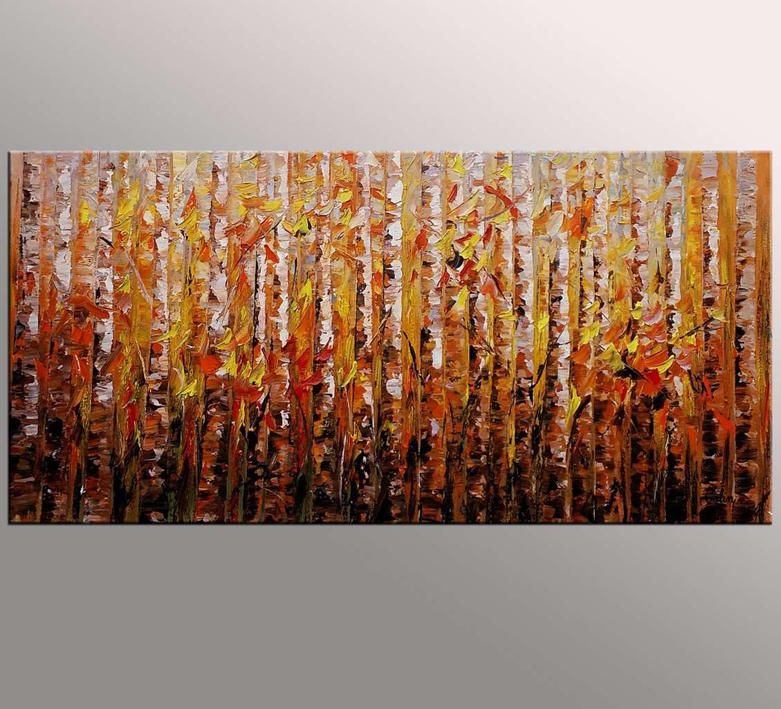 Birch Tree Painting, Original Wall Art, Abs...