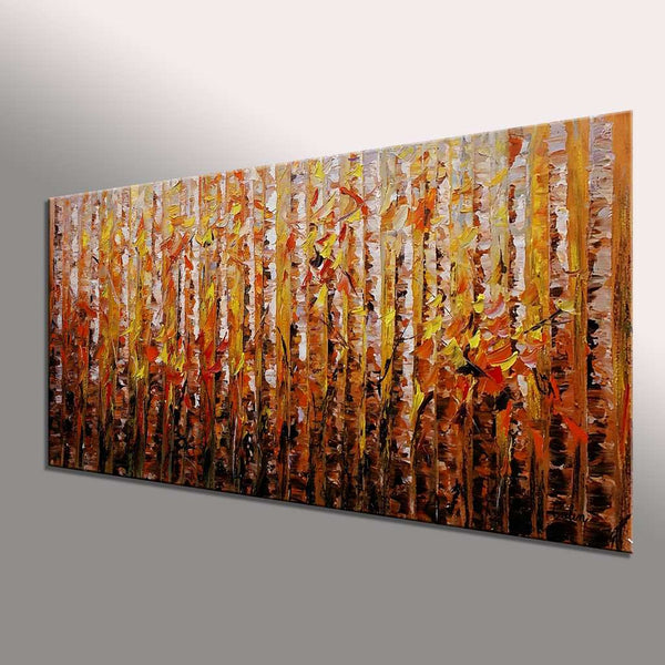 Birch Tree Painting, Original Wall Art, Abstract Painting, Original Artwork, Oil Painting