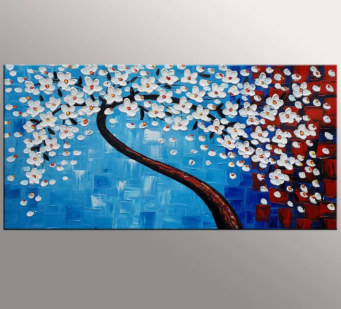 Flower Tree Painting, Kitchen Wall Art, Flower Painting, Original Artwork