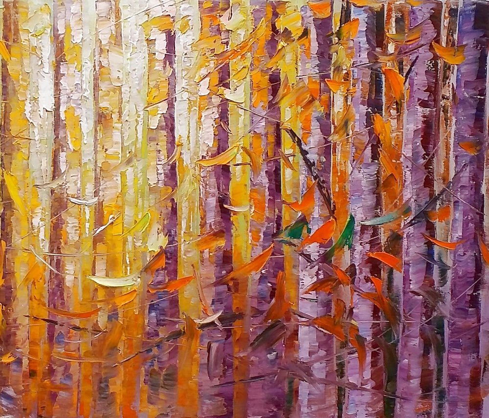 Birch Tree Painting, Landscape Painting, Heavy Texture Oil Painting