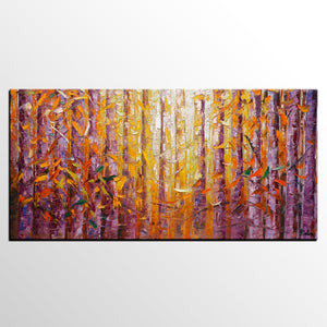 Birch Tree Painting, Landscape Painting, Heavy Texture Oil Painting - artworkcanvas