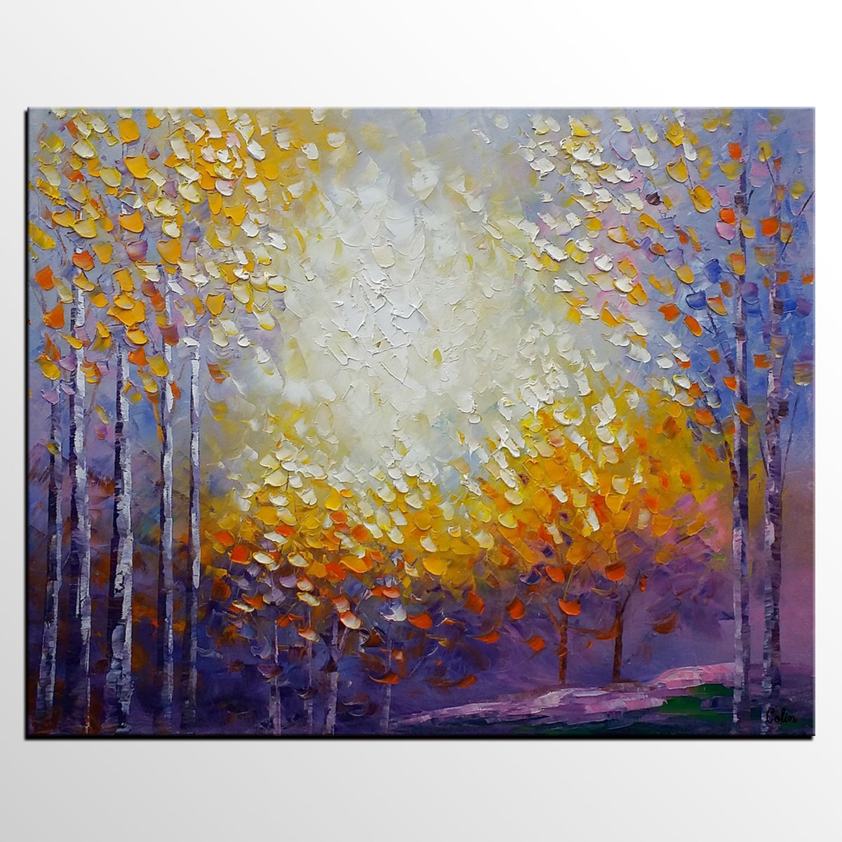 Autumn Tree Painting, Landscape Painting, Oil Painting, Abstract Painting, Large Art, Canvas Art, Bedroom Wall Art, Canvas Painting
