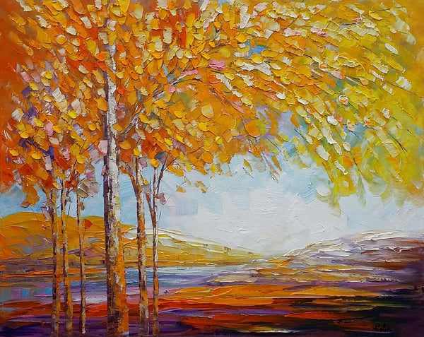 Landscape Painting, Oil Painting, Abstract Painting, Large Art, Canvas Art, Bedroom Wall Art, Canvas Painting, Autumn Tree Painting - artworkcanvas
