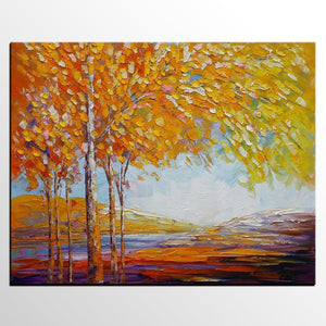 Landscape Painting, Oil Painting, Abstract Painting, Large Art, Canvas Art, Bedroom Wall Art, Canvas Painting, Autumn Tree Painting-artworkcanvas