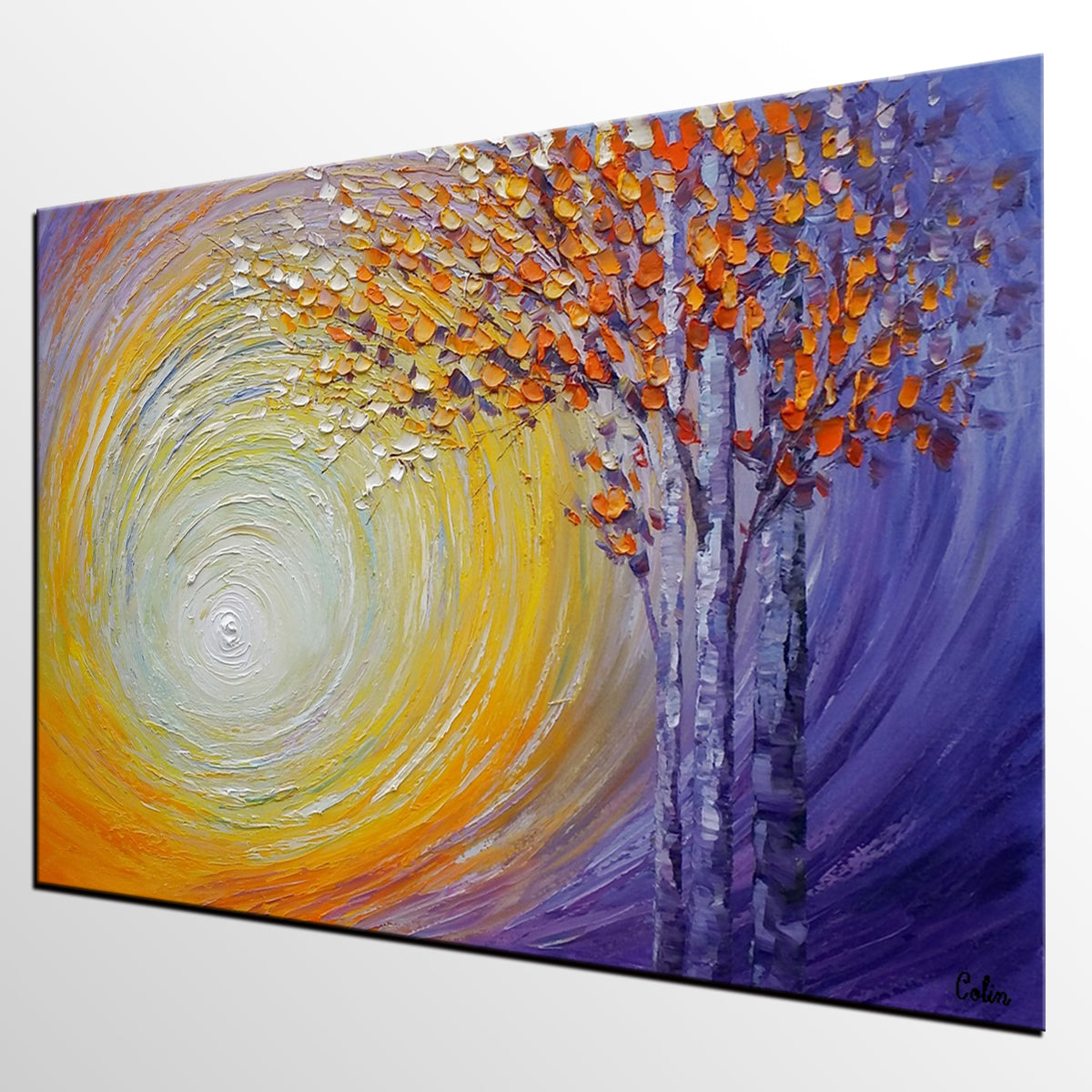 Abstract Landscape Painting, Tree Painting, Oil Painting, Abstract Painting, Large Art, Canvas Art, Dining Room Wall Art, Canvas Painting