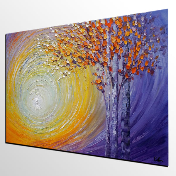 Abstract Landscape Painting, Tree Painting, Oil Painting, Abstract Painting, Large Art, Canvas Art, Dining Room Wall Art, Canvas Painting - artworkcanvas