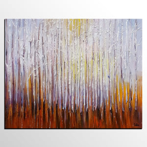 Landscape Painting, Birch Tree Oil Painting, Abstract Painting, Large Art, Canvas Art, Bedroom Wall Art, Canvas Painting