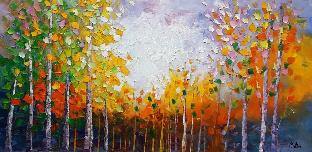 Oil Painting, Landscape Painting, Tree Painting, Abstract Painting, Large Art, Canvas Art, Bedroom Wall Art, Canvas Painting