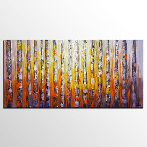 Landscape Painting, Birch Tree Painting, Oil Painting, Abstract Painting, Large Art, Canvas Art, Bedroom Wall Art, Canvas Painting