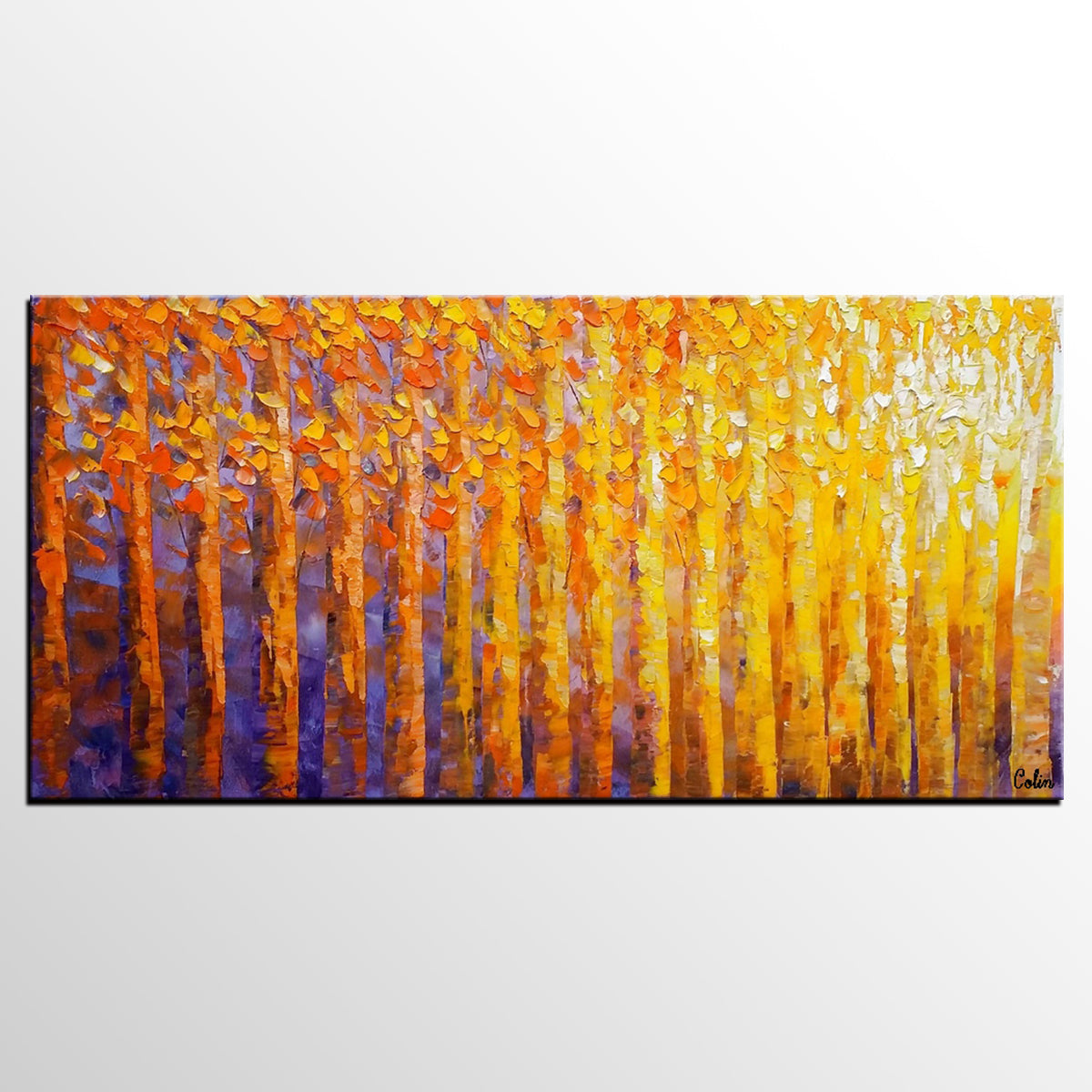 Abstract Landscape Painting, Oil Painting, Abstract Painting, Large Art, Canvas Art, Bedroom Wall Art, Canvas Painting, Birch Tree Painting