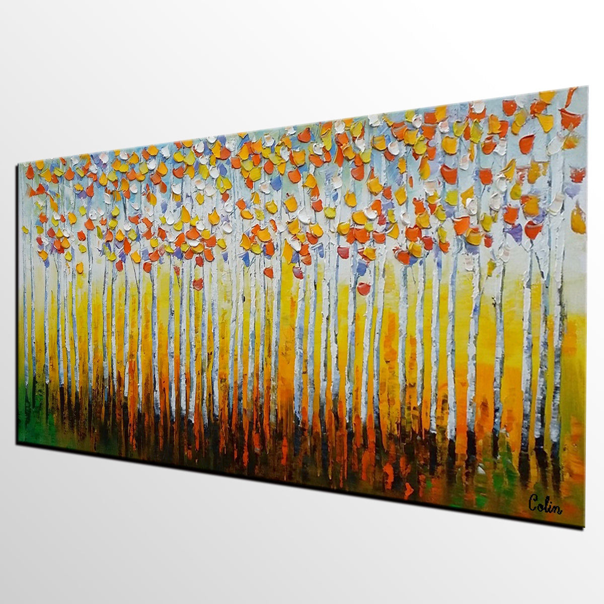 Birch Tree Painting, Landscape Painting, Oil Painting, Abstract Painting, Large Art, Canvas Art, Bedroom Wall Art, Canvas Painting