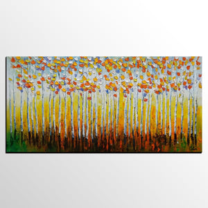 Birch Tree Painting, Landscape Painting, Oil Painting, Abstract Painting - artworkcanvas