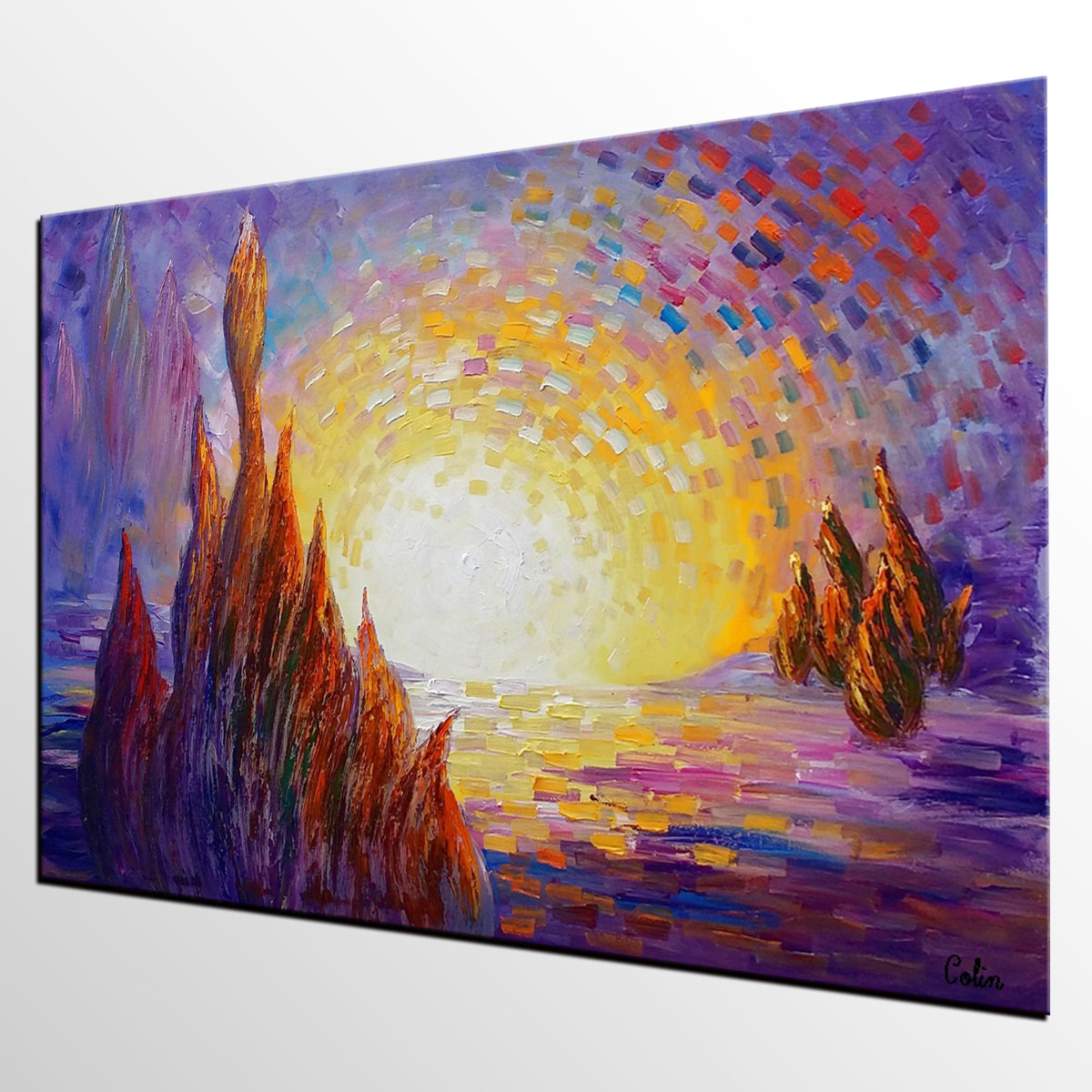 Cypress Tree Painting, Landscape Painting, Oil Painting,  Canvas Painting