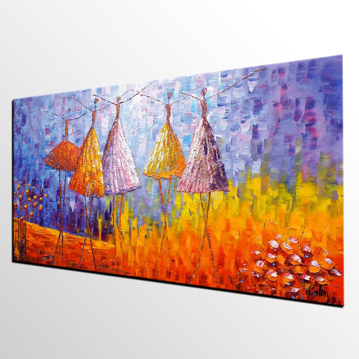 Abstract Landscape Painting, Ballet Dancer Painting, Oil Painting, Abstract Painting, Large Art, Canvas Art, Wall Art, Canvas Painting, Impasto Art