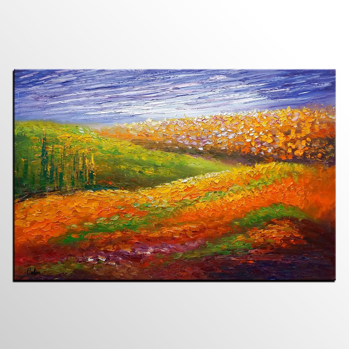 Oil Painting, Flower Field Painting, Abstra...