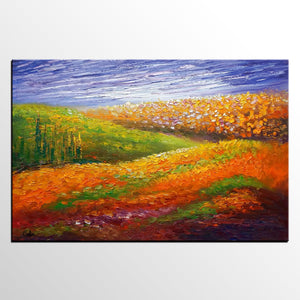 Oil Painting, Flower Field Painting, Abstract Painting, Landscape Art, Modern Art, Canvas Art, Living Room Wall Art, Canvas Painting