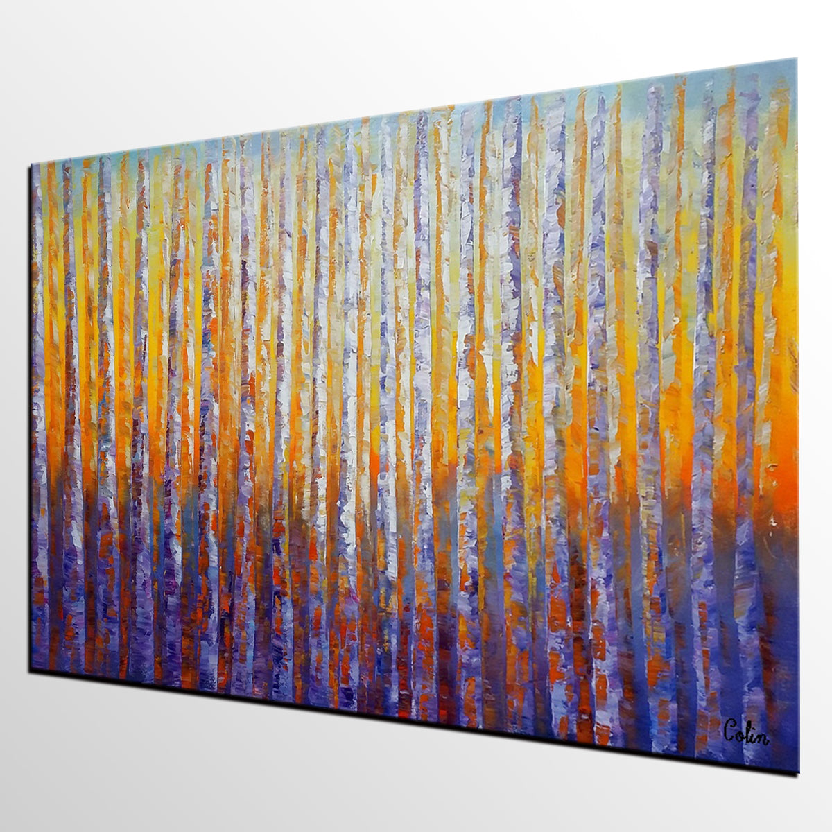Birch Tree Painting, Oil Painting, Abstract Painting, Landscape Art, Modern Art, Canvas Art