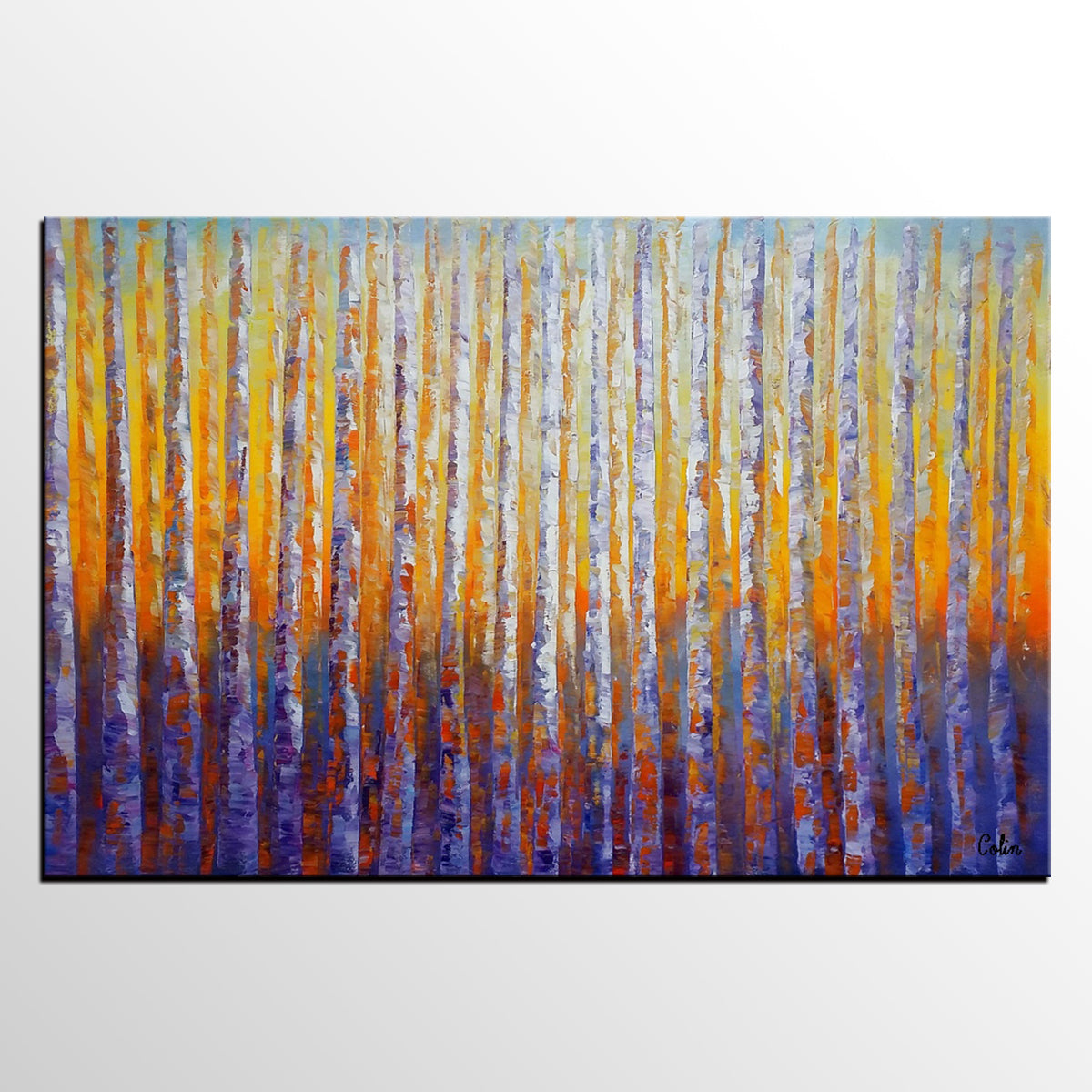 Birch Tree Painting, Oil Painting, Abstract Painting, Landscape Art, Modern Art, Canvas Art - artworkcanvas