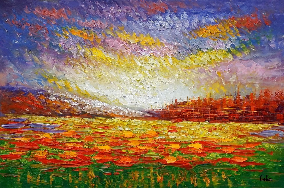 Oil Painting, Abstract Painting, Large Art, Abstract Landscape Painting, Canvas Art, Living Room Wall Art, Canvas Painting, Impasto Art