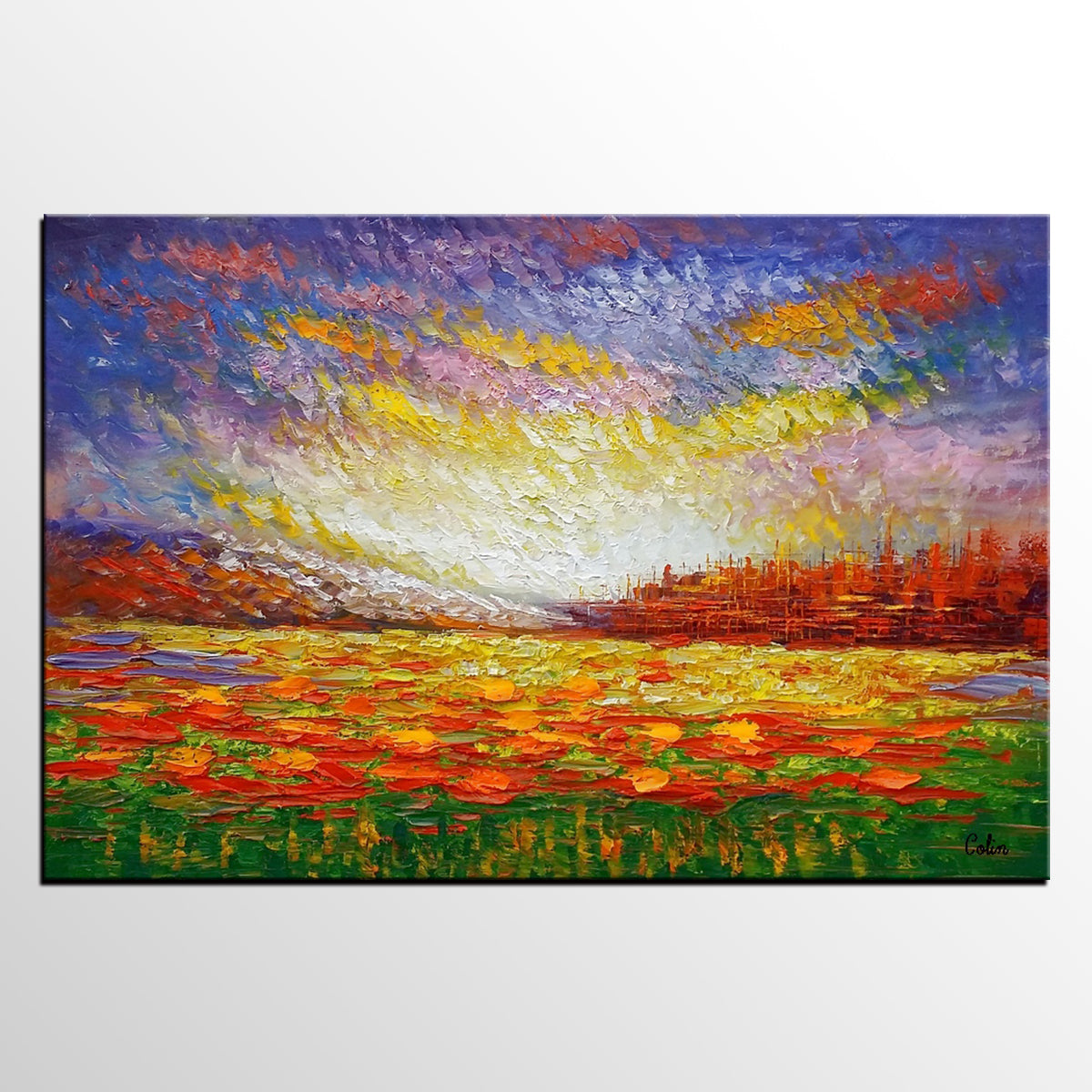 Oil Painting, Abstract Painting, Large Art, Abstract Landscape Painting, Canvas Art, Living Room Wall Art, Canvas Painting, Impasto Art - artworkcanvas
