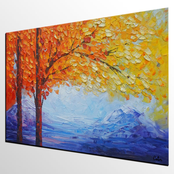 Autumn Tree Art, Landscape Painting, Original Oil Painting, Abstract Painting, Large Art, Canvas Art, Wall Art, Canvas Painting, Heavy Texture Art - artworkcanvas