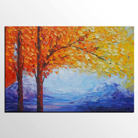 Autumn Tree Art, Landscape Painting, Original Oil Painting, Abstract Painting, Large Art, Canvas Art, Wall Art, Canvas Painting, Heavy Texture Art