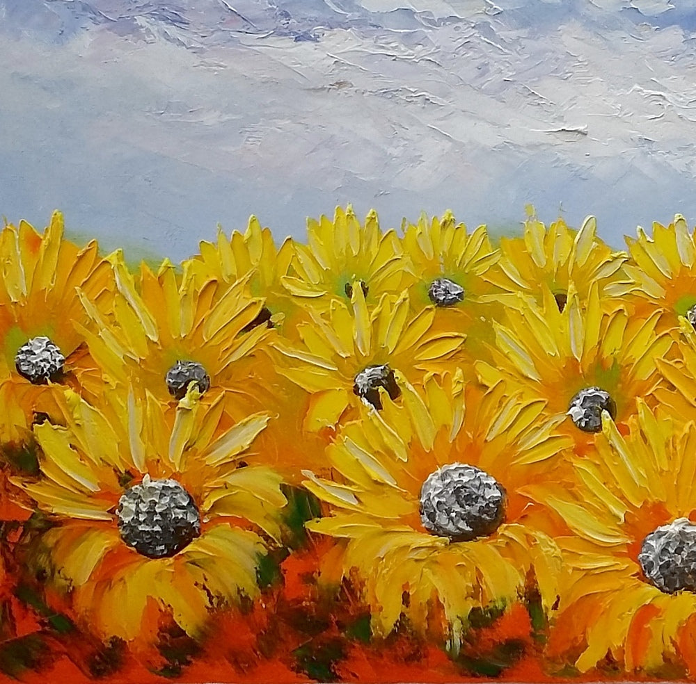 Large Art, Original Art, Sunflower Painting, Canvas Oil Painting, Heavy Texture Art, Bedroom Wall Art, Abstract Painting, Landscape Painting
