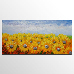 Large Art, Original Art, Sunflower Painting, Canvas Oil Painting, Heavy Texture Art, Bedroom Wall Art, Abstract Painting, Landscape Painting - artworkcanvas