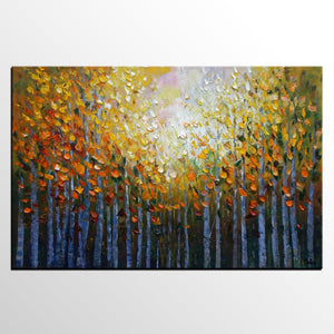 Landscape Painting, Autumn Tree Oil Painting, Abstract Painting, Large Wall Art, Canvas Art, Wall Art, Canvas Painting, Heavy Texture Art