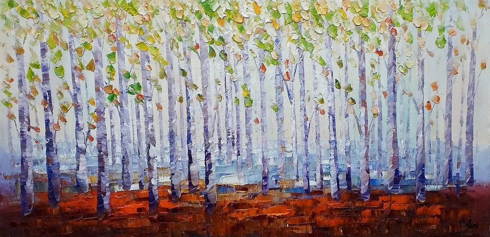 Abstract Art, Birch Tree Art, Landscape Painting, Heavy Texture Art