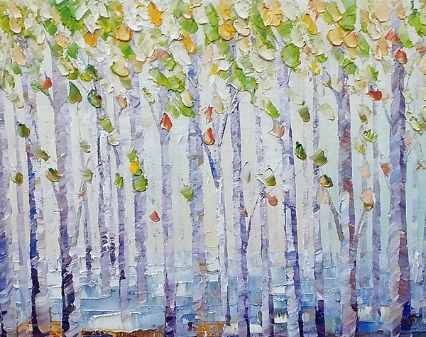 Landscape Painting, Abstract Art, Birch Tree Art, Heavy Texture Art - artworkcanvas