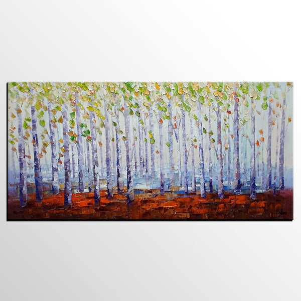 Landscape Painting, Abstract Art, Birch Tree Art, Heavy Texture Art