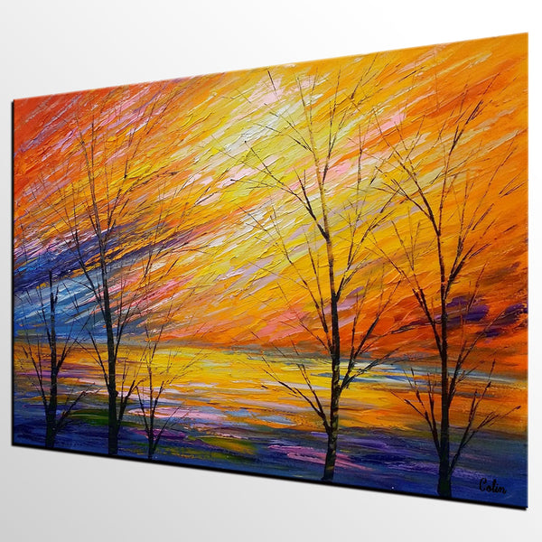 Abstract Art, Sunset Sky Painting, Oil Painting, Modern Art, Canvas Art